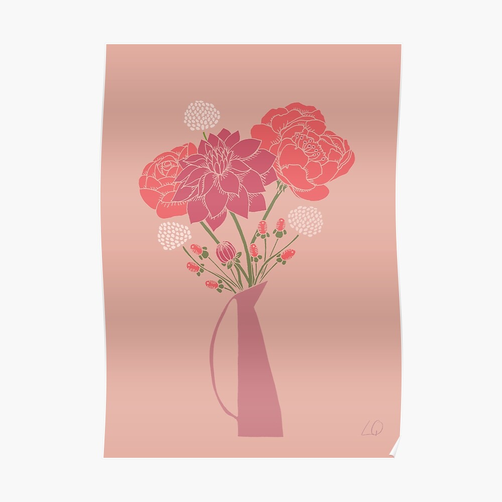 Pink Flower Bouquet in a Vase Poster