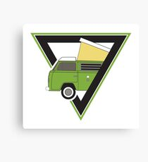 vintage green camper bus Canvas Print