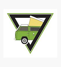 vintage green camper bus Photographic Print