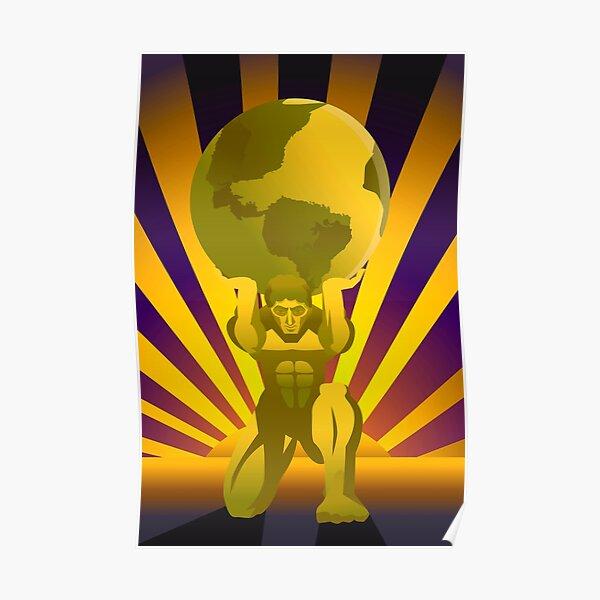 golden atlas holding the globe Poster