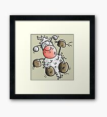 Funny Climbing White Sheep Framed Print