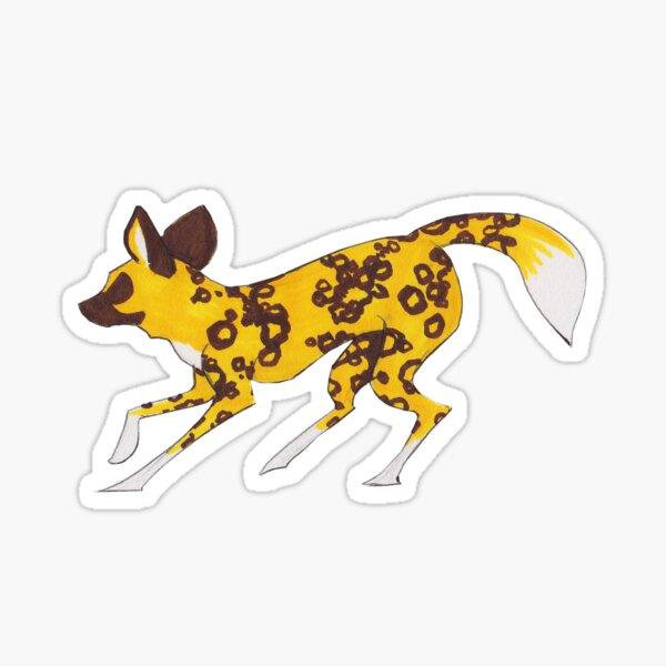 Painted Hunting Dog Running Sticker
