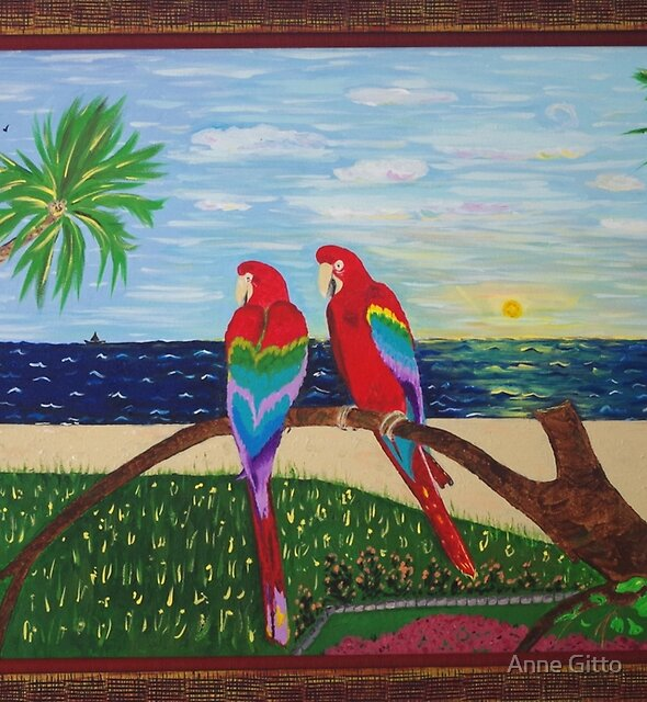 Parrots Chatting Framed by Anne Gitto
