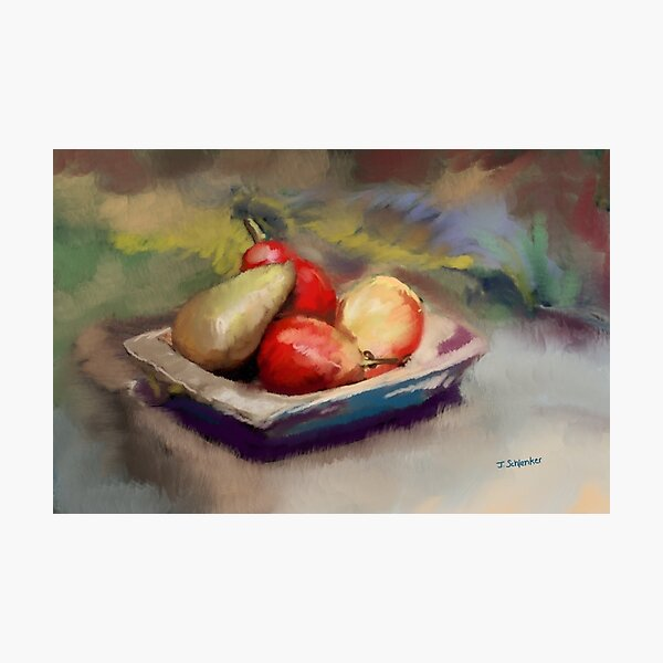 Pears in Wooden Bowl Photographic Print