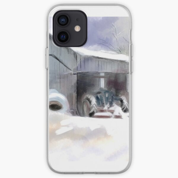 Barn and Tractor in Snow iPhone Soft Case