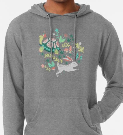 Spring Pattern with Bunnies and Turtles Lightweight Hoodie