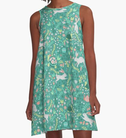 Spring Pattern with Bunnies and Turtles A-Line Dress