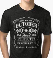 Camiseta de tejido mixto Nacido en octubre de 1968, las leyendas nacieron en octubre de 1968