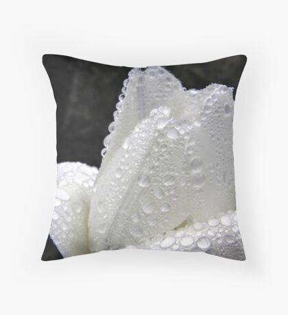 Water Driplets on White Tulip Throw Pillow