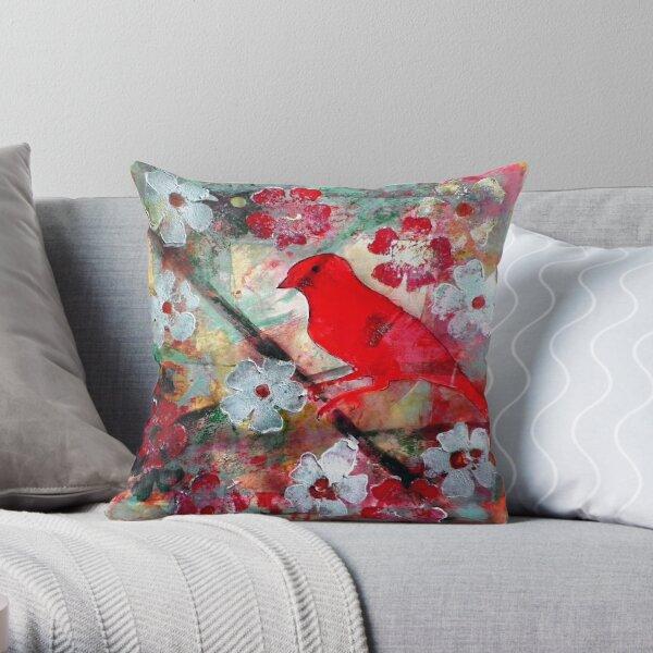 Red Bird Singing Throw Pillow