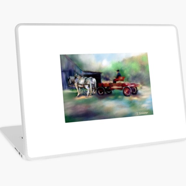 Wagon and Horses in Front of Barn Laptop Skin