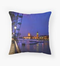 Blue London Night Throw Pillow