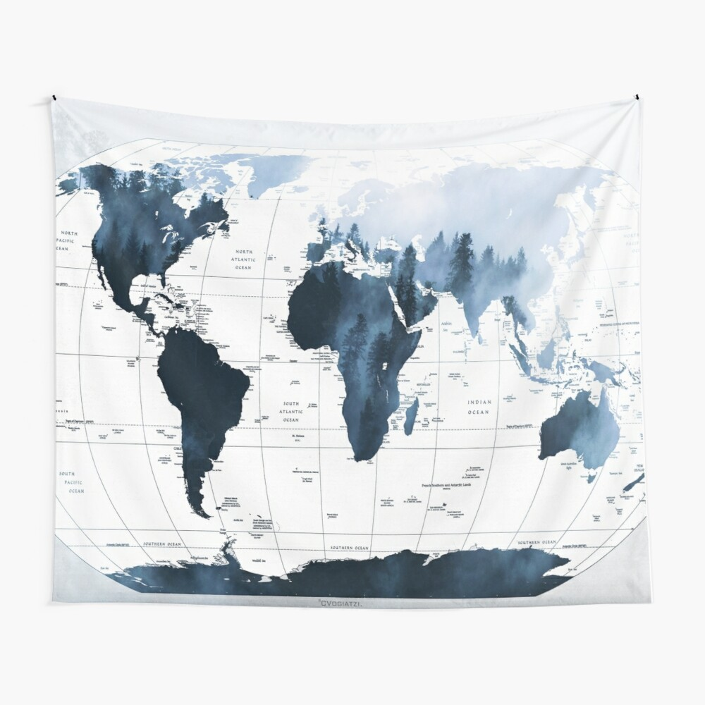 ALLOVER THE WORLD-Woods fog Wall Tapestry