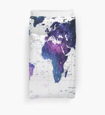 World map duvet covers redbubble allover the world galaxy map duvet cover gumiabroncs Images