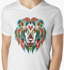 Patterned Colored Head of a Lion Men's V-Neck T-Shirt