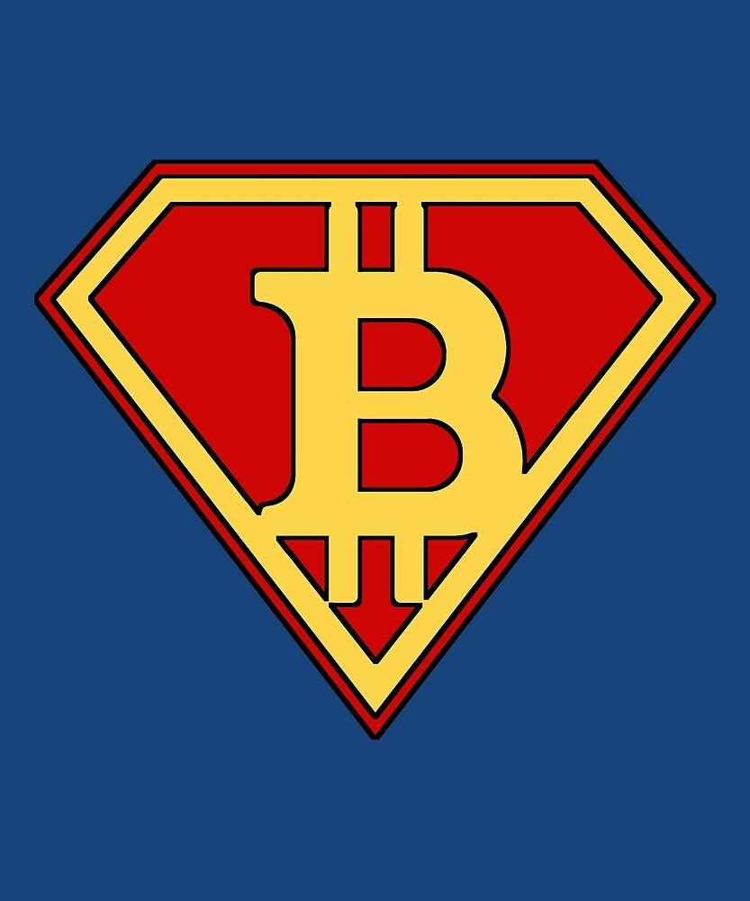 Bitcoin Man Super Hero by Dave Jo