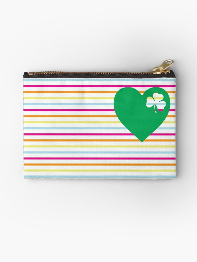 St Patricks Day Shamrock Pattern Canvas Coin Purse Small Cute Change Cash Bag with Zip