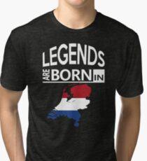 Legends born Netherlands Dutch Pride Birthday Tri-blend T-Shirt