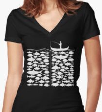 Funny Fishing T-Shirt Present Funny Women's Fitted V-Neck T-Shirt