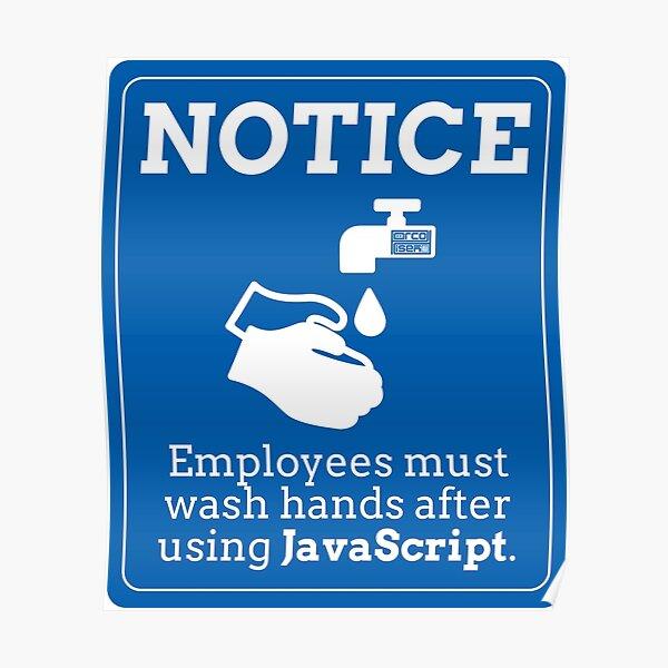 Lustige Mitarbeiter waschen Hände JavaScript-Programmierung Poster