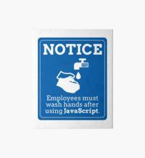 Funny Employees Wash Hands JavaScript Programming Art Board