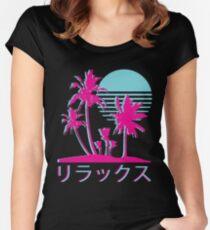Vaporwave Aesthetic // Neonpalmen Tailliertes Rundhals-Shirt