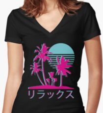 Vaporwave Aesthetic // Neon Palms Women's Fitted V-Neck T-Shirt