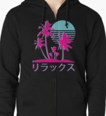 Vaporwave Aesthetic // Neon Palms Zipped Hoodie