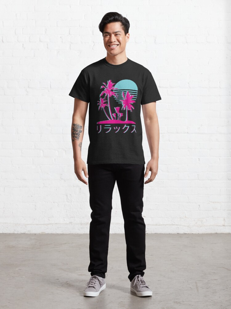 Alternate view of Vaporwave Aesthetic // Neon Palms Classic T-Shirt