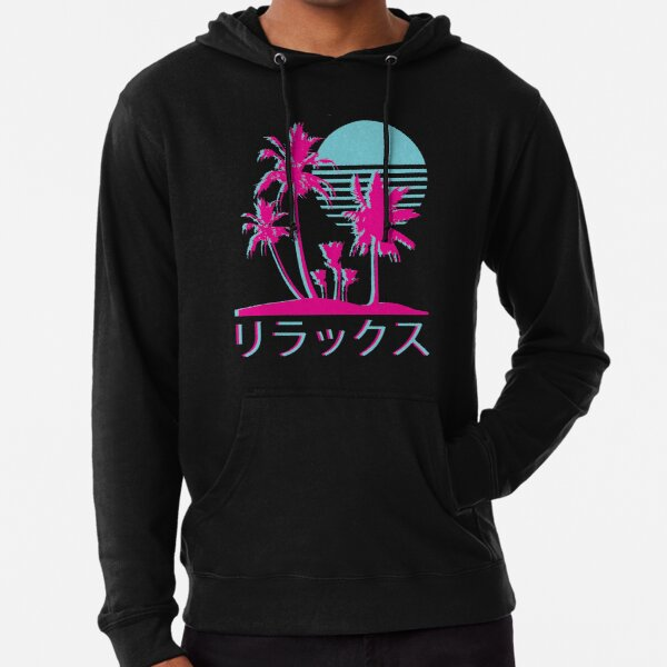 Vaporwave Aesthetic // Neon Palms Lightweight Hoodie