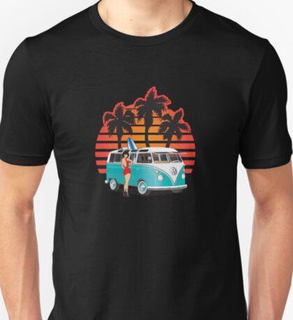 VW Split Window Bus Teal w Girl & Palmes T-Shirt