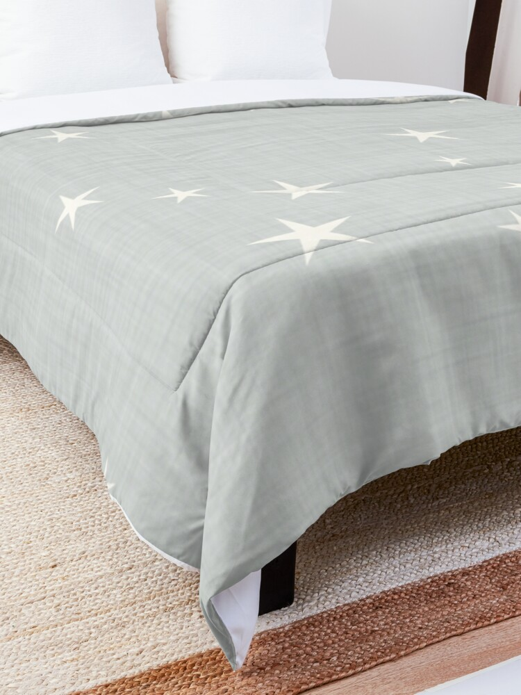 Alternate view of Grey star with fabric texture - narwhal collection Comforter
