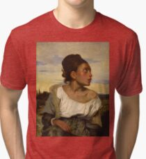 Orphan Girl at the Cemetery( Young Orphan Girl in the Cemetery)-Eugène Delacroix Tri-blend T-Shirt