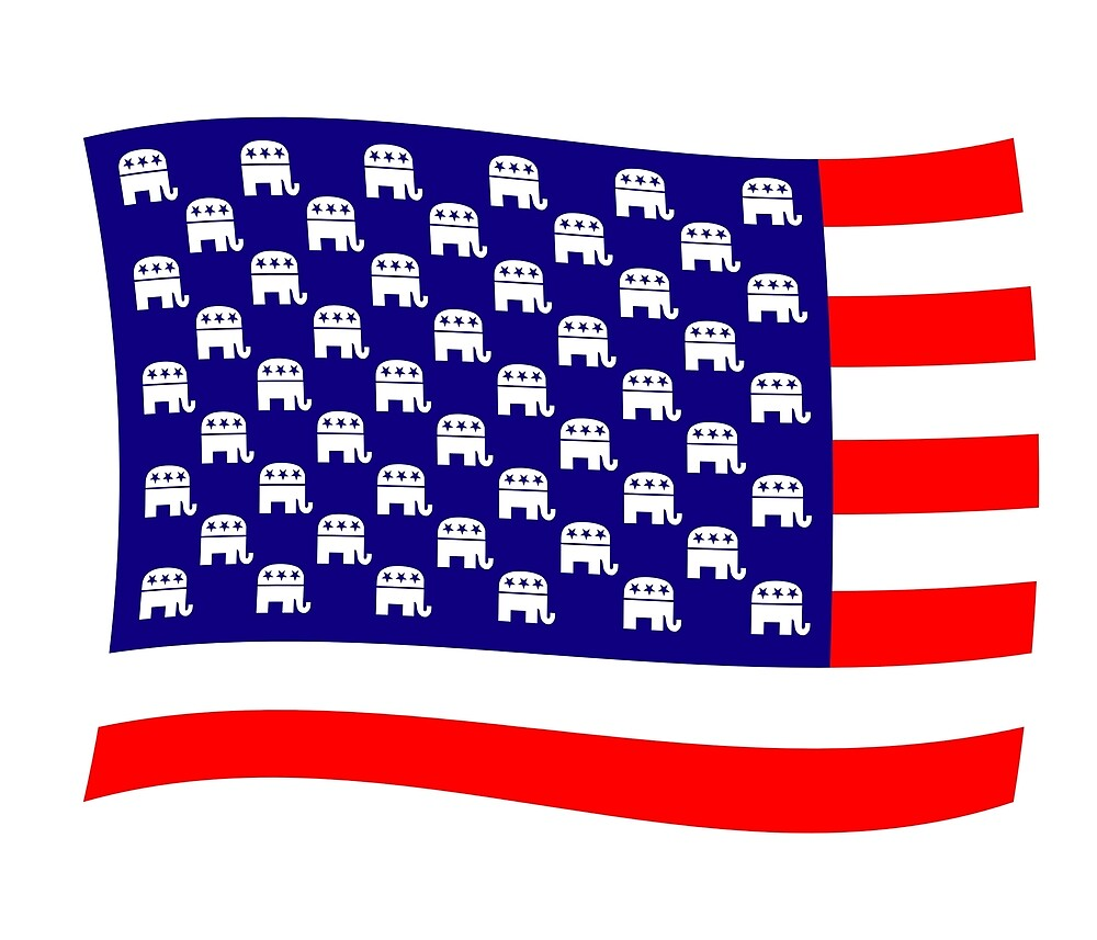 Republican Elephant USA Flag by Thisis notme