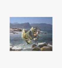 Steampunk-Drachen u. Delphine, die über Fish Hoek-Strand fliegen Galeriedruck