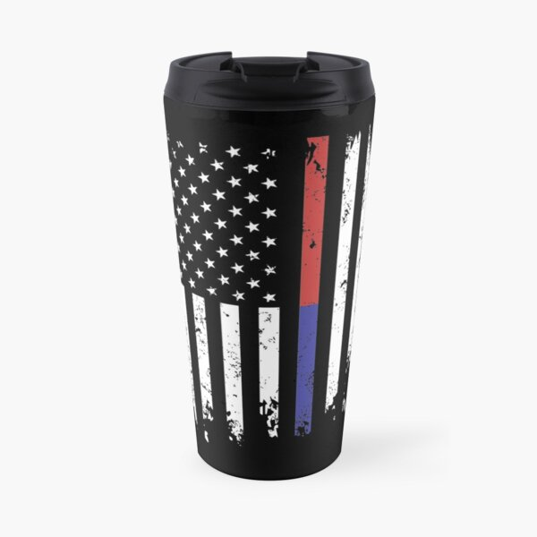 Police and FireFighter Thin Blue Red Line Flag Travel Mug