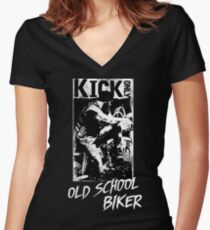 Kick Only - Old School Biker Shirt mit V-Ausschnitt
