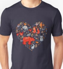 Fairy-tale forest. Fox, bear, raccoon, owls, rabbits, flowers and herbs on a blue background. Unisex T-Shirt