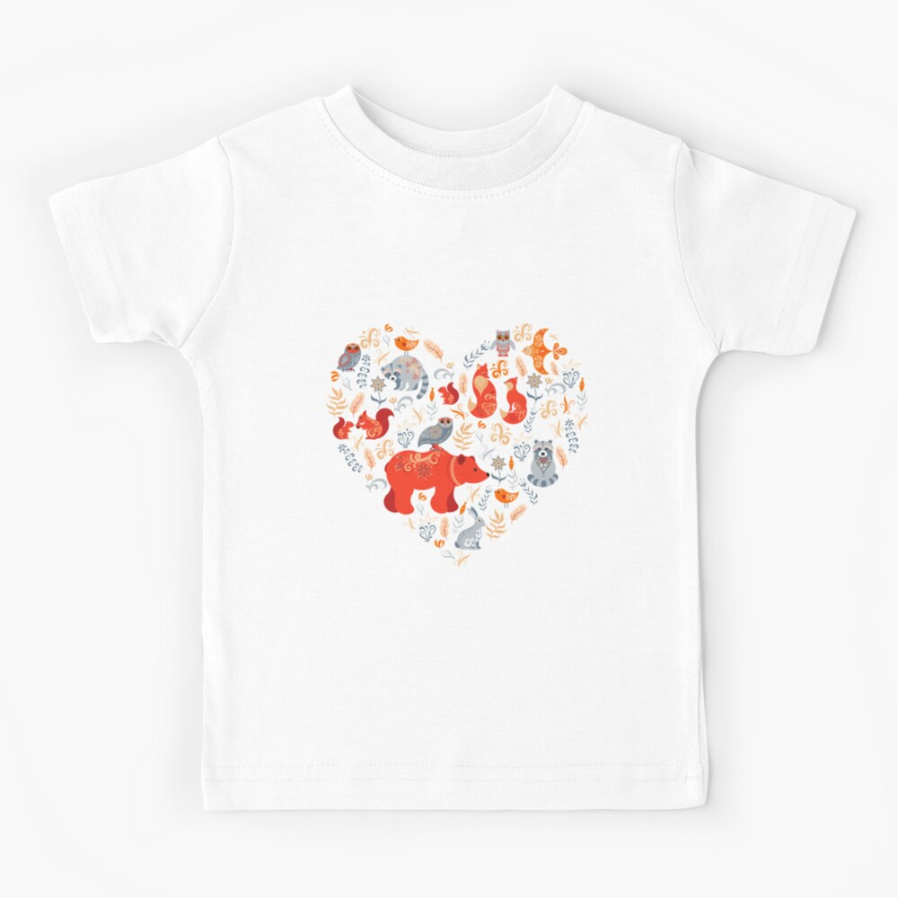 Fairy-tale forest. Fox, bear, raccoon, owls, rabbits, flowers and herbs on a blue background. Kids T-Shirt