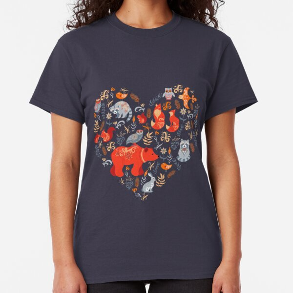 Fairy-tale forest. Fox, bear, raccoon, owls, rabbits, flowers and herbs on a blue background. Classic T-Shirt