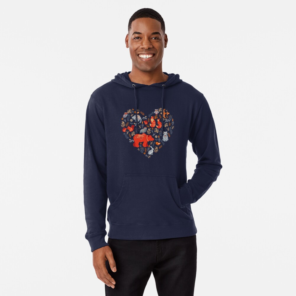Fairy-tale forest. Fox, bear, raccoon, owls, rabbits, flowers and herbs on a blue background. Lightweight Hoodie