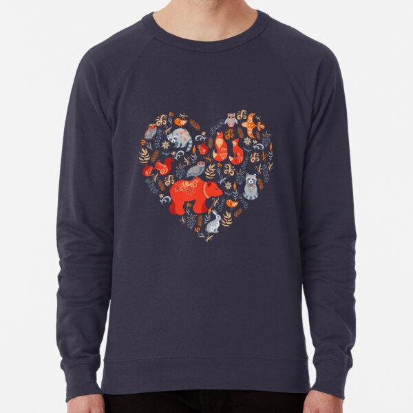 Fairy-tale forest. Fox, bear, raccoon, owls, rabbits, flowers and herbs on a blue background. Lightweight Sweatshirt