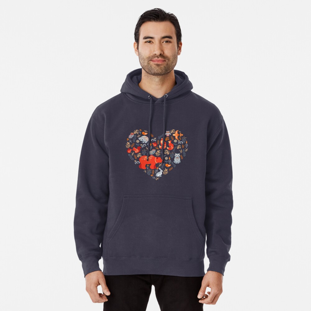 Fairy-tale forest. Fox, bear, raccoon, owls, rabbits, flowers and herbs on a blue background. Pullover Hoodie