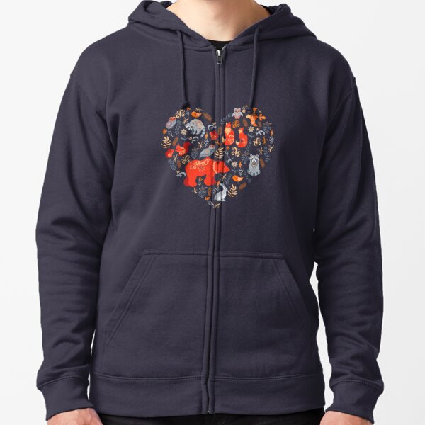 Fairy-tale forest. Fox, bear, raccoon, owls, rabbits, flowers and herbs on a blue background. Zipped Hoodie