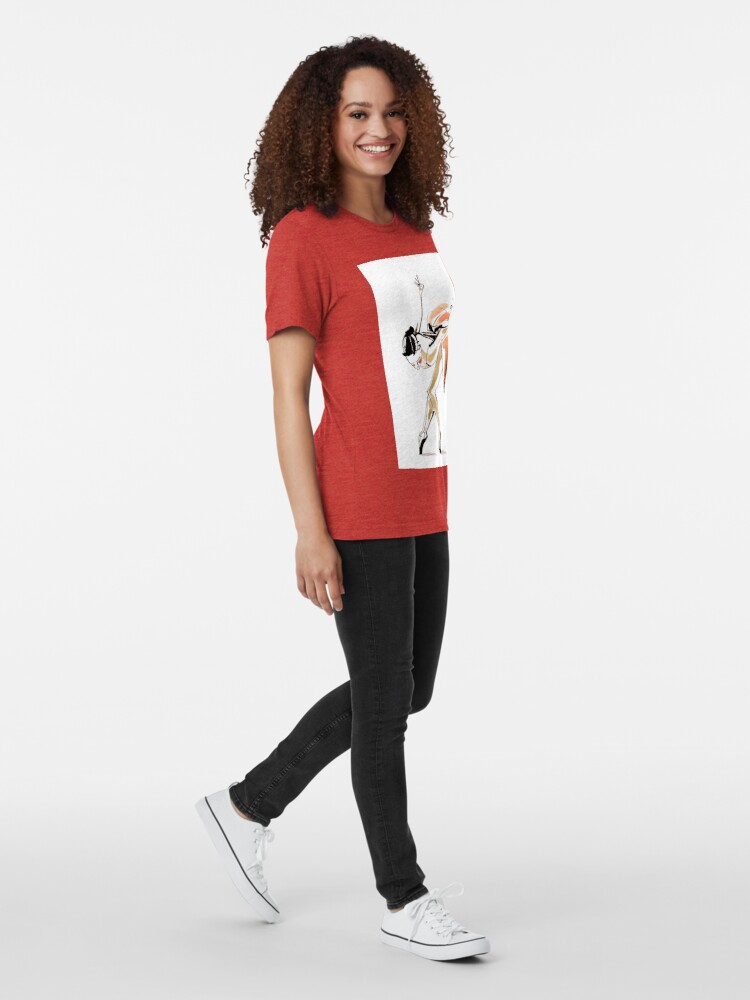 Alternate view of Expressive Watercolor Dance Drawing Tri-blend T-Shirt
