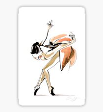 Expressive Watercolor Dance Drawing Sticker