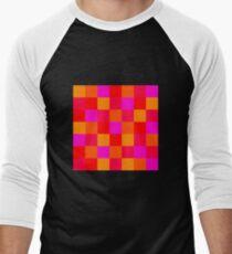 Pixel Mosaik Muster Pattern pink rot Men's Baseball ¾ T-Shirt