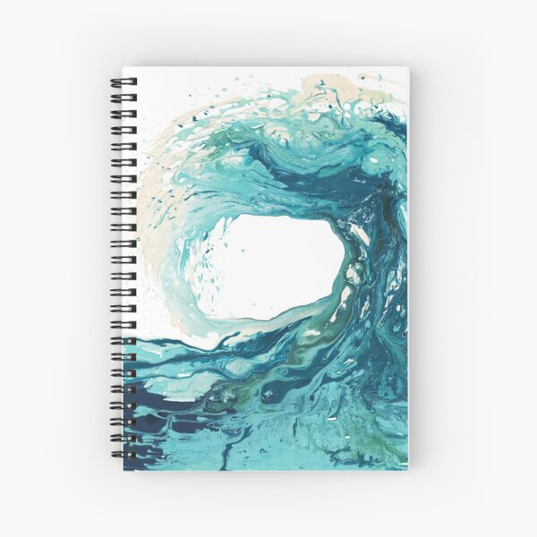 Ocean Wave Art Print Picture - Turquoise Sea Surf Beach Decor  Spiral Notebook