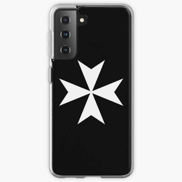 CROSS. MALTA. Maltese, Amalfi Cross, Maltese cross, Knights Hospitaller, WHITE on BLACK. Samsung Galaxy Soft Case