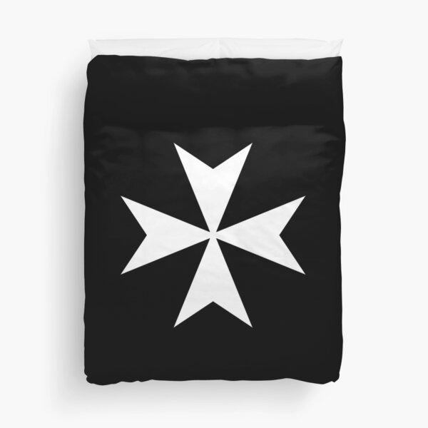 CROSS. MALTA. Maltese, Amalfi Cross, Maltese cross, Knights Hospitaller, WHITE on BLACK. Duvet Cover